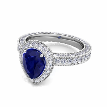 Milgrain Pear Shaped Sapphire and Diamond Engagement Ring in Platinum, 7x5mm