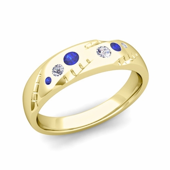Mens Flush Set Diamond and Sapphire Wedding Band in 18k Gold, 6mm