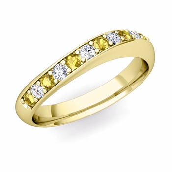 Curved Diamond and Yellow Sapphire Wedding Ring in 18k Gold, 4mm