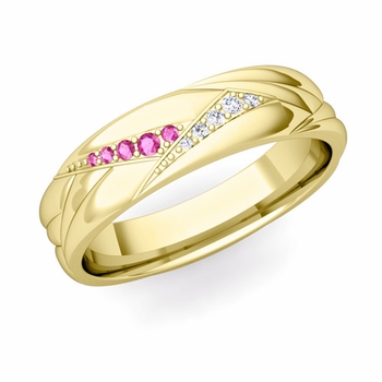 Wave Mens Wedding Band in 18k Gold Diamond and Pink Sapphire Ring, 5.5mm