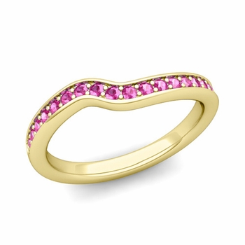 Petite Curved Pink Sapphire Wedding Band Ring in 18k Gold