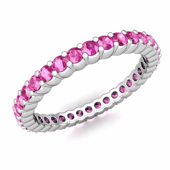 Petite Pave Pink Sapphire Eternity Ring in 14k Gold