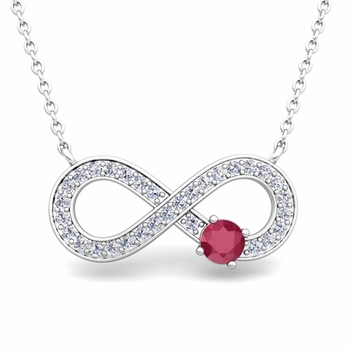 Solitaire Ruby and Diamond Infinity Necklace in 14k White or Yellow Gold