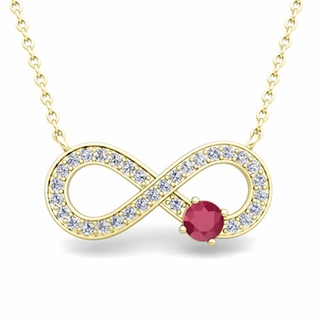 Solitaire Ruby and Diamond Infinity Necklace in 18k White or Yellow Gold