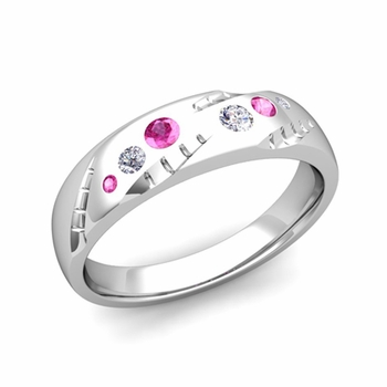 Mens Flush Set Diamond and Pink Sapphire Wedding Band in Platinum, 6mm