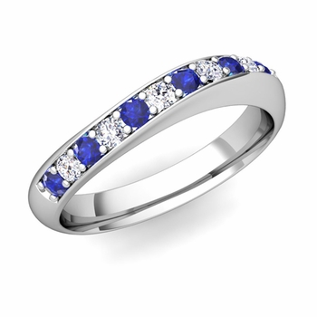 Curved Diamond and Sapphire Wedding Ring in Platinum, 4mm