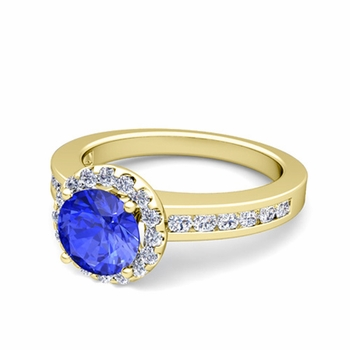 Diamond and Ceylon Sapphire Halo Engagement Ring in 18k Gold Channel Set Ring, 7mm