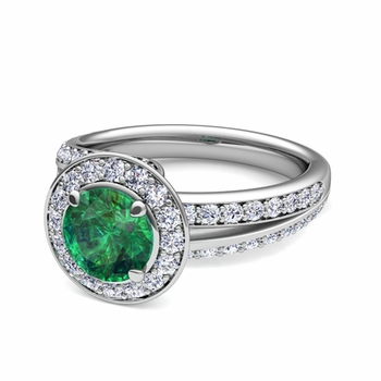 Wave Diamond and Emerald Halo Engagement Ring in Platinum, 7mm