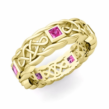 Princess Cut Pink Sapphire Ring in 18k Gold Celtic Knot Wedding Band, 5mm
