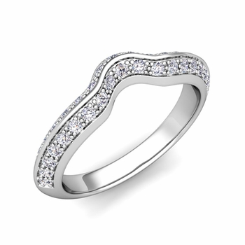 Vintage Inspired Curved Diamond Wedding Ring in Platinum