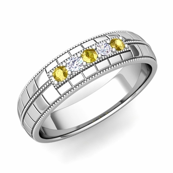 Yellow Sapphire and Diamond Mens Wedding Band in Platinum 5 Stone Ring, 5mm