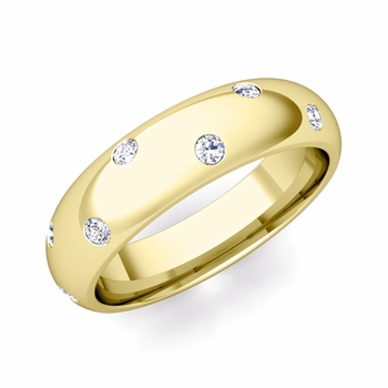 Scattered Diamond Wedding Eternity Band in 18k Gold, 5mm