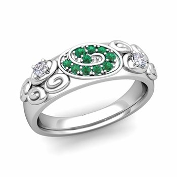 Swirl Diamond and Emerald Wedding Ring Band in Platinum, 5.5mm