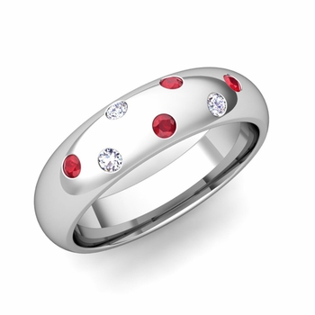 Comfort Fit Scattered Ruby and Diamond Wedding Band in 14k Gold, 5mm
