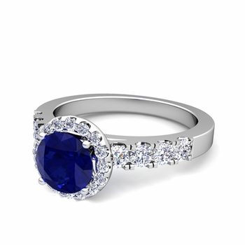 Brilliant Pave Set Diamond and Sapphire Halo Engagement Ring in Platinum, 7mm