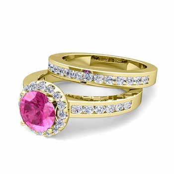Halo Bridal Set: Diamond and Pink Sapphire Engagement Wedding Ring in 18k Gold, 7mm