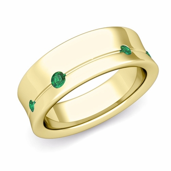 Flush Set Emerald Wedding Band Ring in 18k Gold, 5mm