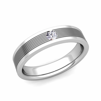 Solitaire Diamond Mens Wedding Band in Platinum Comfort Fit Ring, 5mm