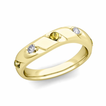 Curved Yellow Sapphire and Diamond Wedding Ring Band in 18k Gold, 3.5mm