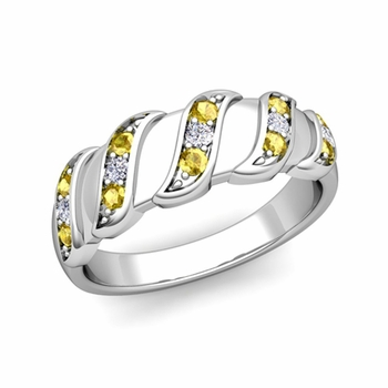 Twisted Diamond and Yellow Sapphire Wedding Ring Band in Platinum, 5mm