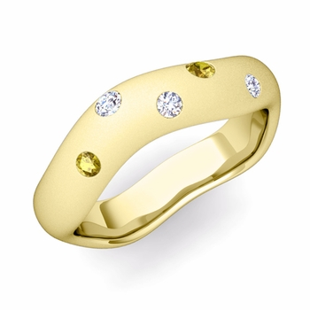 Curved Diamond and Yellow Sapphire Wedding Ring in 18k Gold, Satin Finish, 5mm