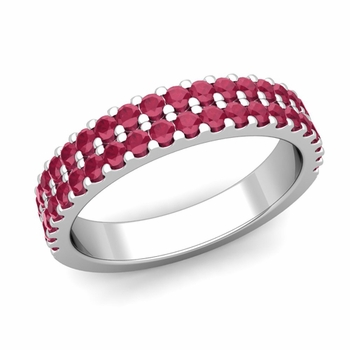 Two Row Diamond and Ruby Wedding Ring Band in 14k Gold