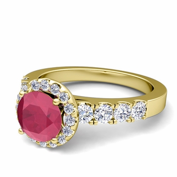Brilliant Pave Set Diamond and Ruby Halo Engagement Ring in 18k Gold, 6mm