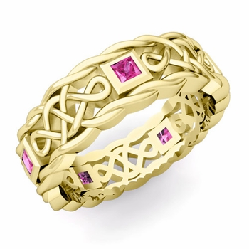 Princess Cut Pink Sapphire Ring in 18k Gold Celtic Knot Wedding Band, 7mm
