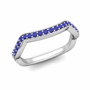 Unique Curved Blue Sapphire Wedding Ring Band in Platinum