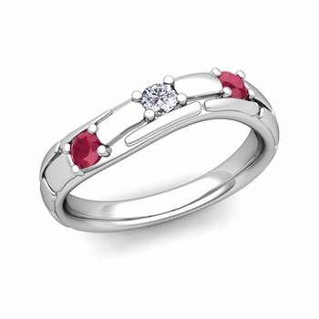 Organica 3 Stone Diamond Ruby Wedding Ring in 14k Gold, 3mm
