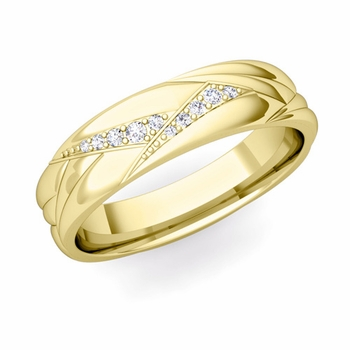 Wave Mens Wedding Band in 18k Gold Diamond Ring, 5.5mm