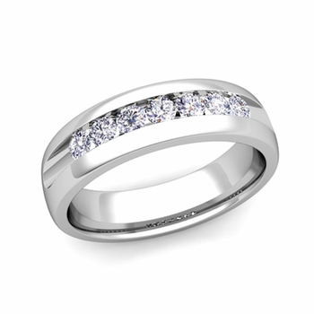 Channel Set Diamond Mens Wedding Band in Platinum Comfort Fit Ring, 6mm