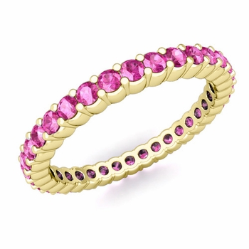 Petite Pave Pink Sapphire Eternity Ring in 18k Gold