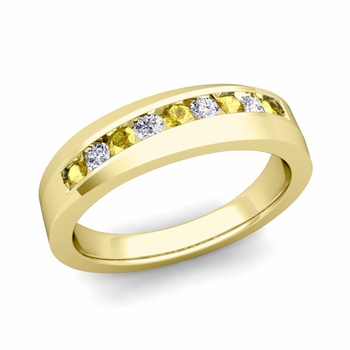Channel Set Diamond and Yellow Sapphire Wedding Band in 18k Gold, 4mm