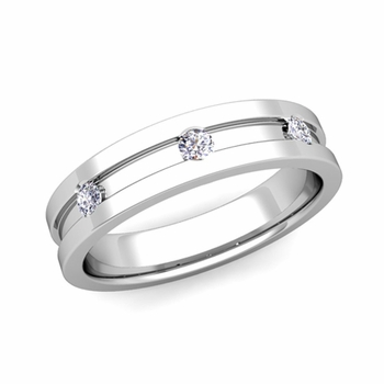 3 Stone Diamond Mens Wedding Ring in Platinum Comfort Fit Ring, 5mm