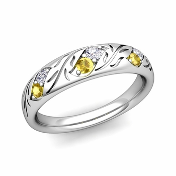 Vintage Inspired Diamond and Yellow Sapphire Wedding Ring in Platinum 3.8mm