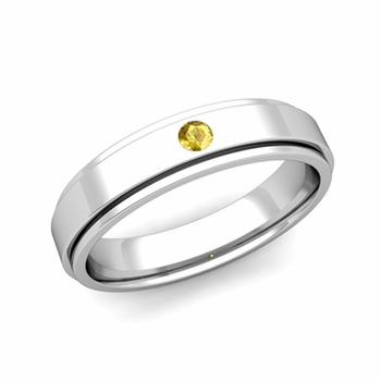 Solitaire Yellow Sapphire Mens Wedding Ring in Platinum Comfort Fit Ring, 5mm