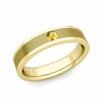 Solitaire Yellow Sapphire Mens Wedding Band in 18k Gold Comfort Fit Ring, 5mm