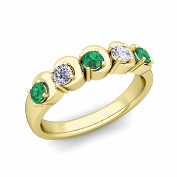 Organica 5 Stone Diamond and Emerald Wedding Ring in 18k Gold, 3.5mm