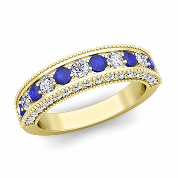 Vintage Inspired Sapphire and Diamond Wedding Ring Band in 18k Gold