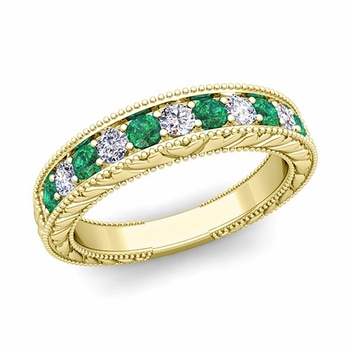Vintage Inspired Diamond and Emerald Wedding Ring Band in 18k Gold