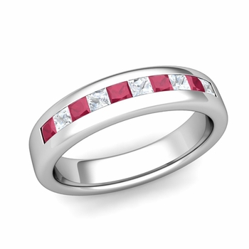 Channel Set Princess Cut Diamond and Ruby Wedding Ring in Platinum, 4.5mm