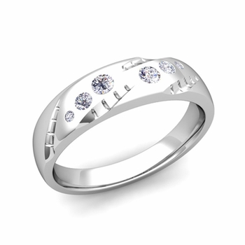 Mens Flush Set Diamond Wedding Band in Platinum, 6mm