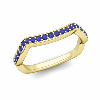 Unique Curved Blue Sapphire Wedding Ring Band in 18k Gold