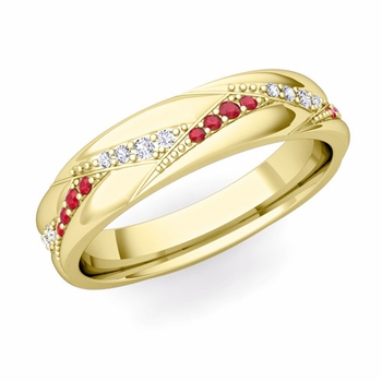 Wave Wedding Band in 18k Gold Diamond and Ruby Ring, 5mm