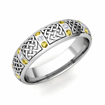 Yellow Sapphire Diamond Wedding Ring in Platinum Celtic Wedding Band, 6mm