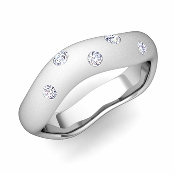 Curved Diamond Wedding Ring in Platinum, Satin Finish, 5mm