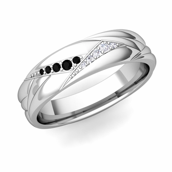 Wave Mens Wedding Band in Platinum Black and White Diamond Ring, 5.5mm