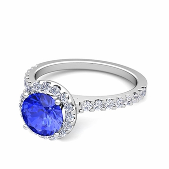 Petite Pave Set Diamond and Ceylon Sapphire Halo Engagement Ring in 14k Gold, 7mm