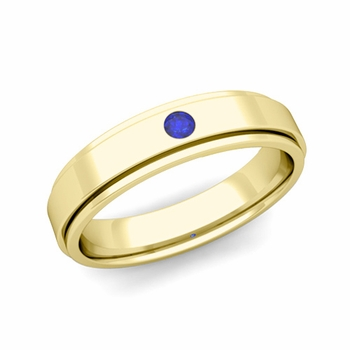 Solitaire Sapphire Mens Wedding Ring in 18k Gold Comfort Fit Ring, 5mm